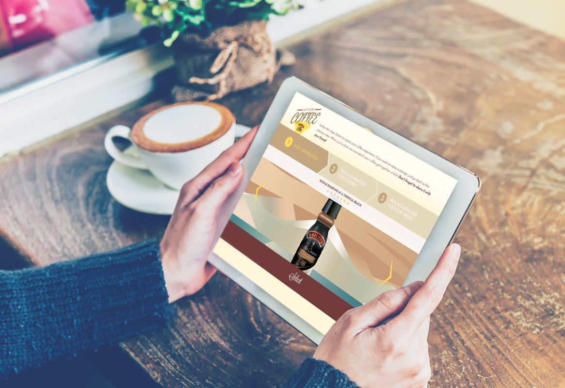 Person sitting at a wooden table with a latte holding a tablet displaying Let's Do Coffee landing page