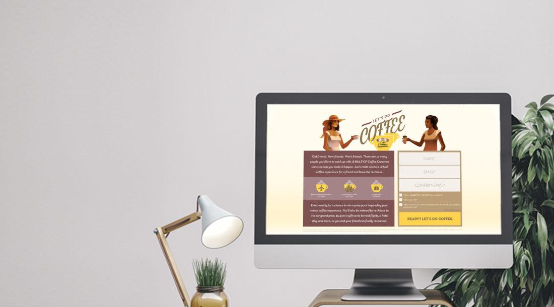 desktop computer displaying lets do coffee landing page