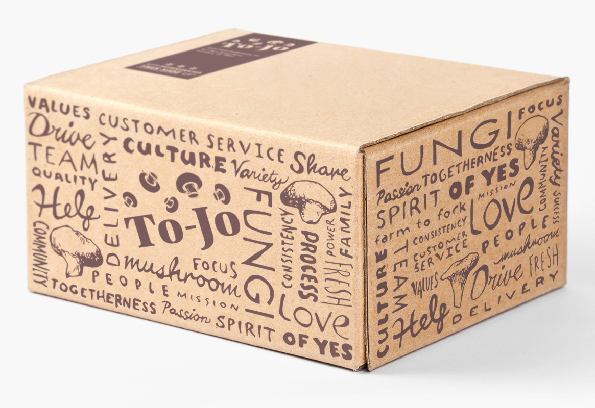 Cardboard box with To-Jo branding