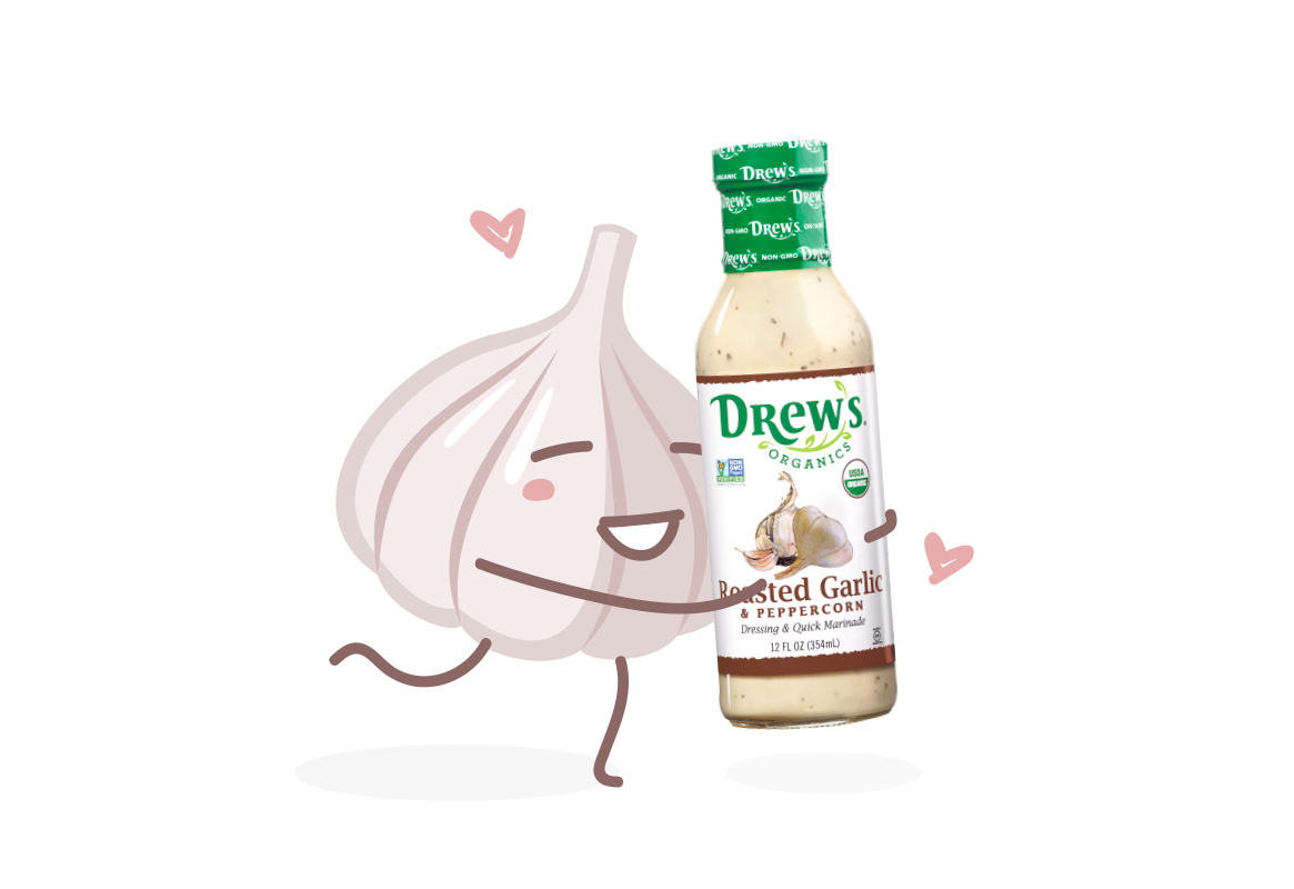 Illustration of a head of garlic hugging a bottle of Drew's Organics Roasted Garlic & Peppercorn Dressing