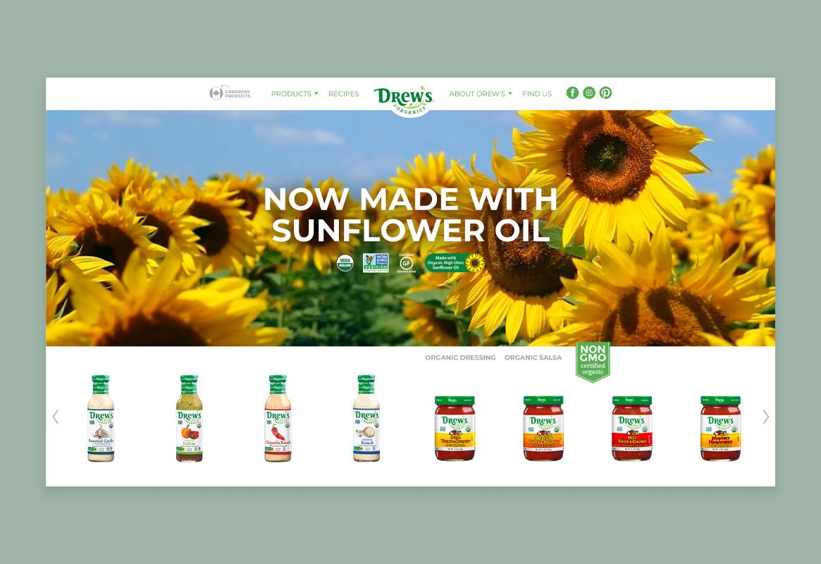 Drew's Organics website
