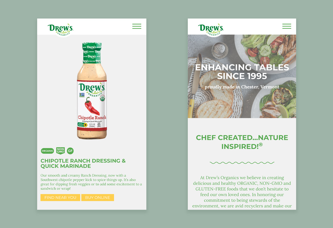 Drew's Organics web pages