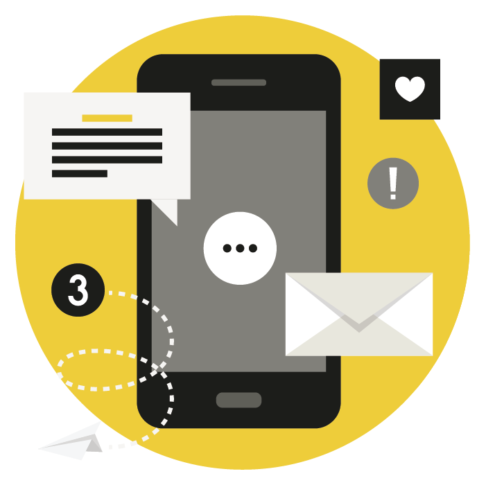Mobile phone graphic with envelope and social media related icons
