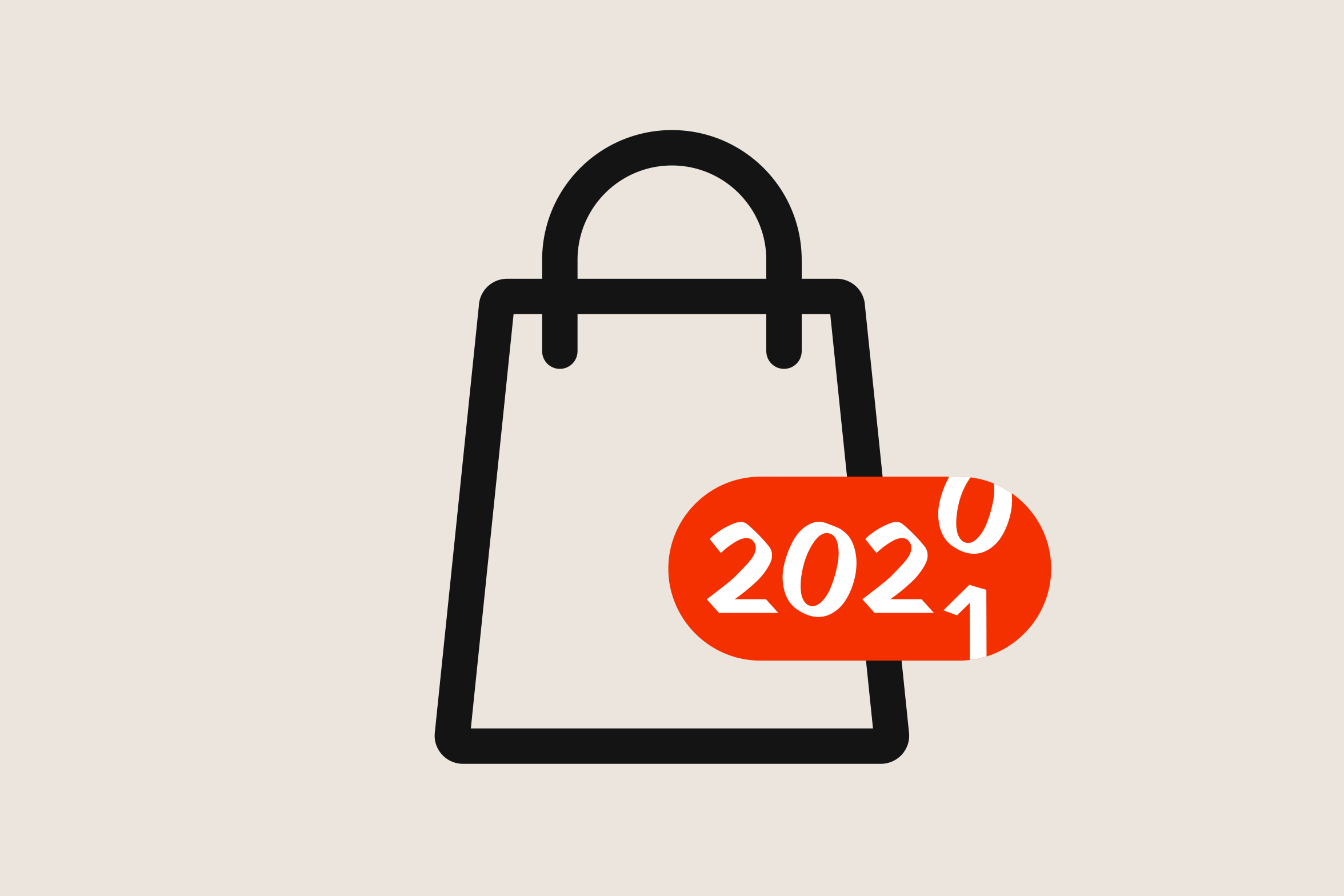 shopping bag graphic representing switch from 2020 to 2021