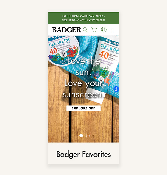 Badger mobile homepage view