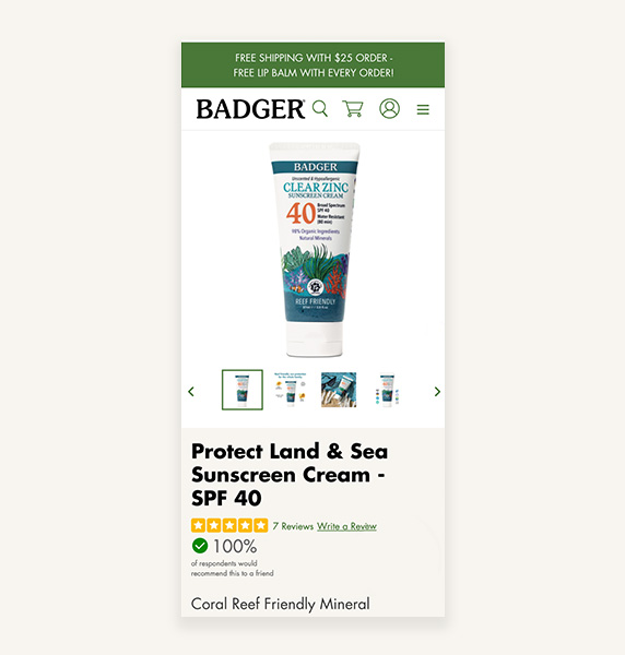 Badger mobile product page view